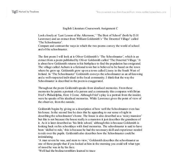 The village schoolmaster essay