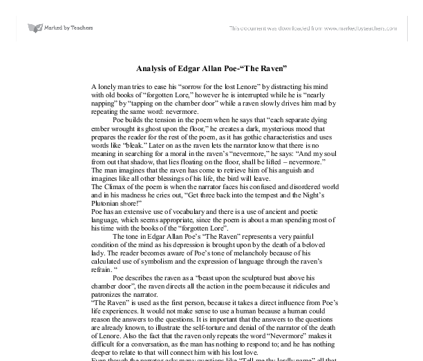 analysis of edgar allan poe the raven gcse english marked document image preview