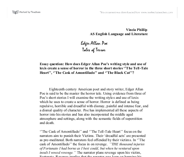 how does edger allan poe s writing style and use of lexis create a  document image preview