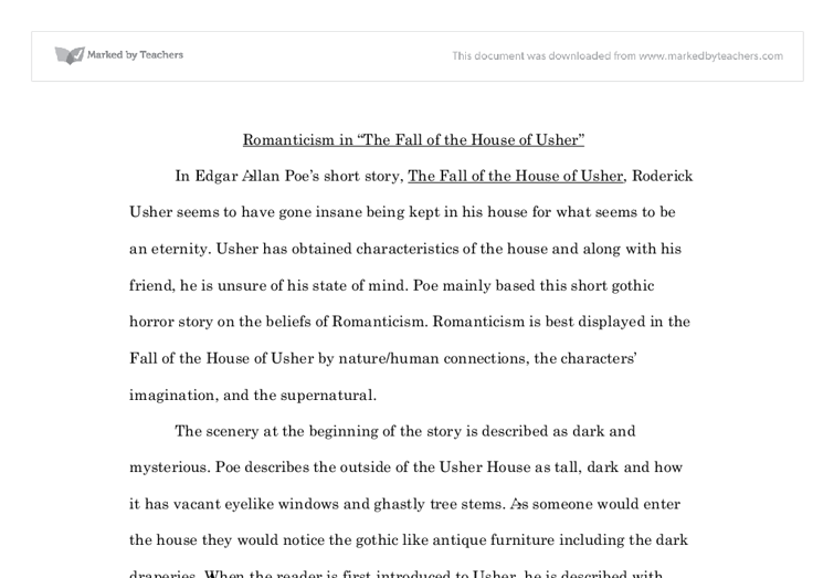 Short English Essays For Students Document Image Preview Proposal Essays also Personal Essay Examples For High School Romanticism In The Fall Of The House Of Usher  Gcse English  Important Of English Language Essay