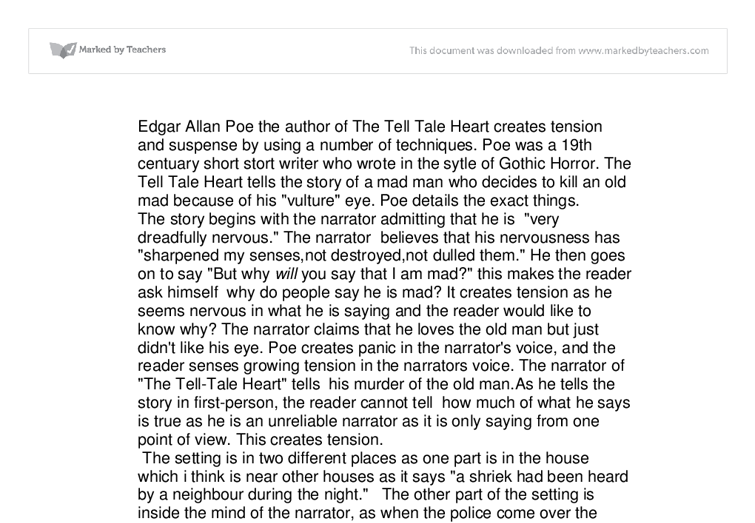 essay on the tell tale heart The tell-tale heart essay sample guilt is a very powerful thing to wrestle against with it stabs the heart, attacks sanity and exposes the weaknesses of a guilty person.