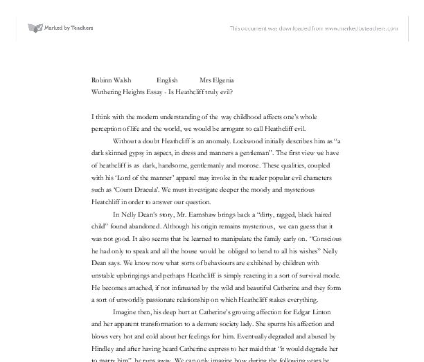 wuthering heights essay is heathcliff truly evil gcse english  document image preview