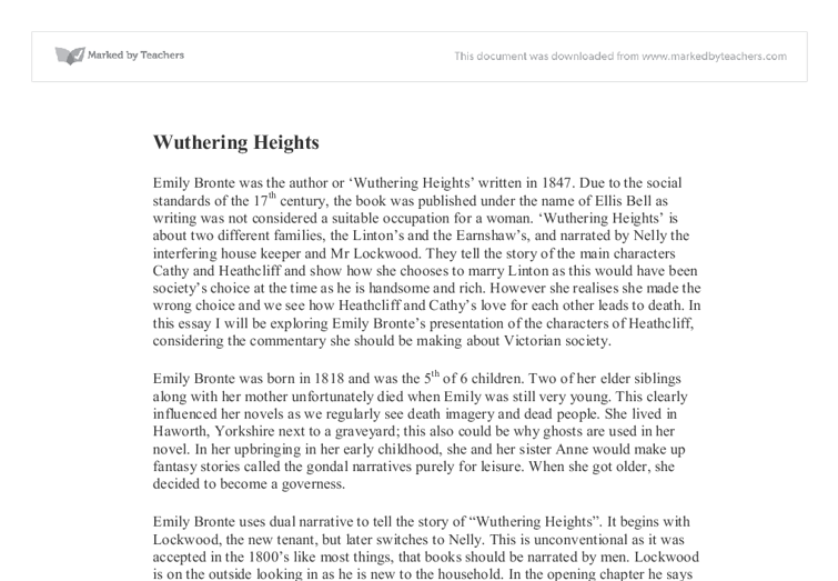 "Feminist' Ideas in Emily Bronte's ""Wuthering Heights"" Essay Sample"
