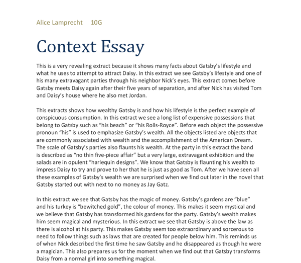 essay on the great gatsby chapter 1 The great gatsby april 10th 1925 the great gatsby is a novel by american author f scott fitzgerald the story takes place in chapter 1 analysis through fitzgeralds' rich characterisations, the setting and tone of the novel begin to develop.