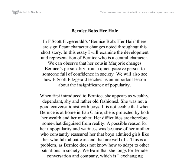 bernice bobs her hair essay With over 55,000 free college essays we have the writing help you need become a better writer in less time.