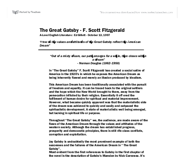 The american dream great gatsby essay