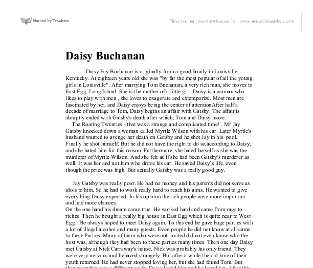 Character analysis of daisy buchannan