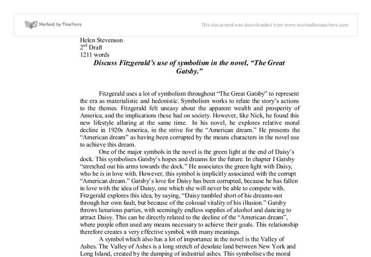 Discuss Fitzgeralds Use Of Symbolism In The Novel The Great