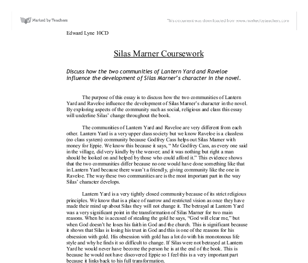 essays about silas marner Critical essays plot and structure of silas marner  the major theme of silas marner is of course the  between silas' life as a spinning insect and the .