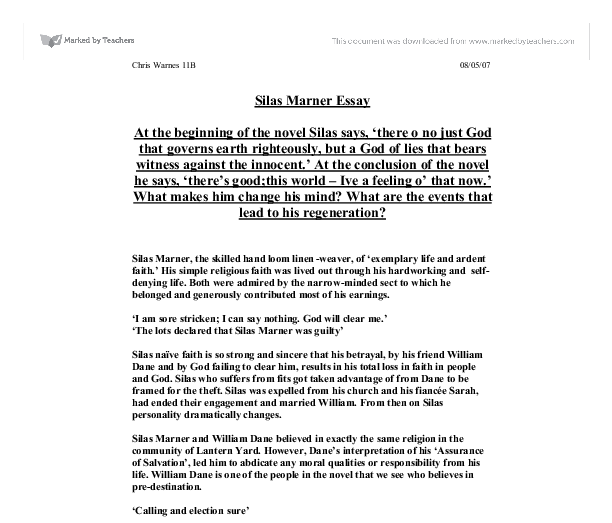silas marner what makes him change his mind through the course document image preview