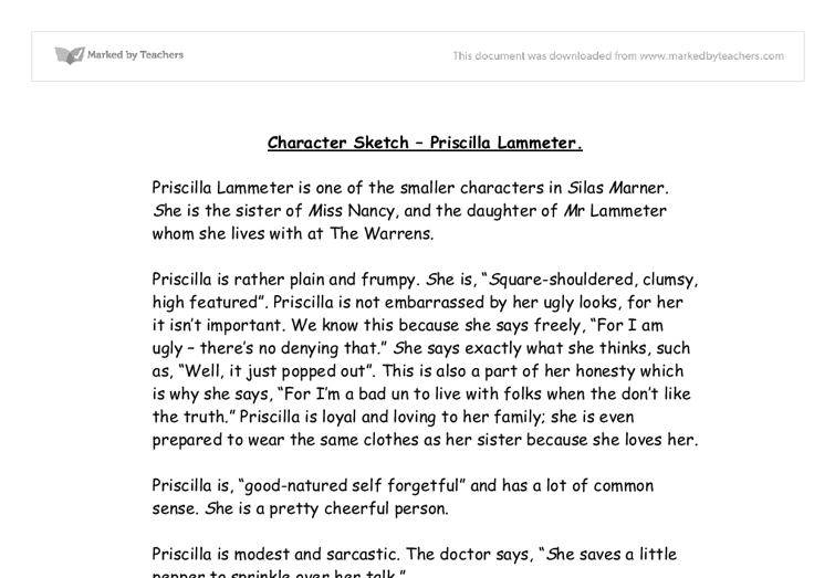 character sketch priscilla lammeter gcse english marked by document image preview