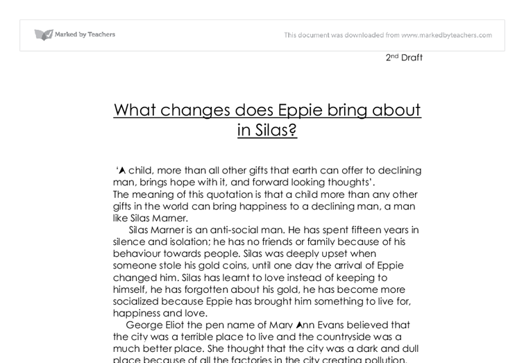 silas marner essay what changes does eppie bring about in silas  document image preview