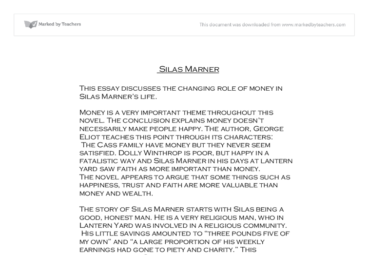 the changing role of money in silas marner s life gcse  document image preview