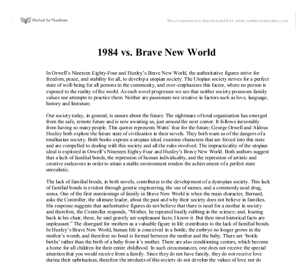 brave new world family essay This essay example has been submitted by brave new world and family are nonexistent when it is simply easier and more efficient to control population by.