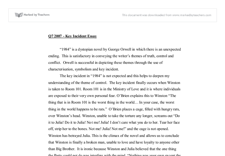 orwells predictions essay Research paper, essay on george orwell  animalism vs marxism characters, items, and events found in george orwells book, animal farm, can be compared to similar characters, items, and events found in marxism and the 1917 russian revolution  winston¹s job was to change recorded events, predictions made by the party, and documents to.