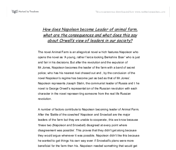 how does napoleon become leader of animal farm what are the  document image preview