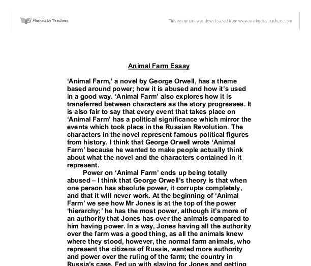 essay farm animals Major themes in animal farm choose one for your essay topic 1 dreams,  hopes and plans animal farm may be a specific criticism of one dream—the.