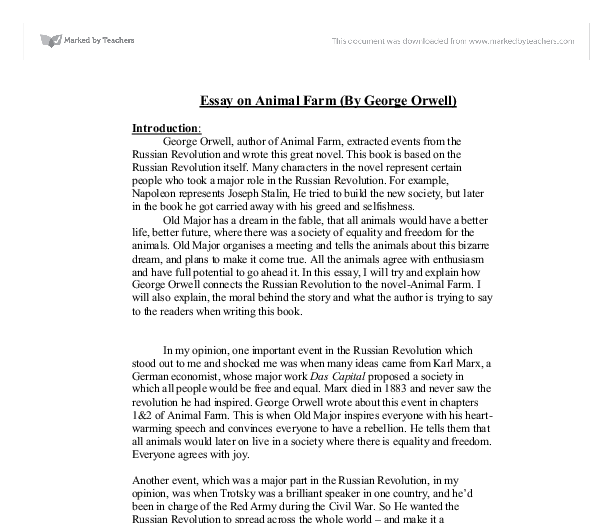 """animal farm by george orwell essay Essays, term papers, book reports, research papers on literature: george orwell free papers and essays on animal farm we provide free model essays on literature."