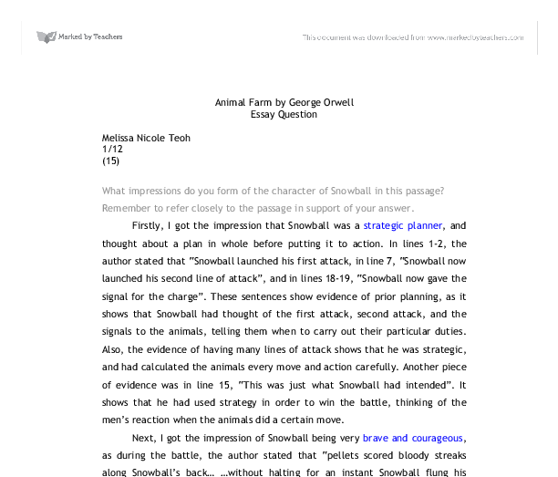 animal farm by george orwell what impressions do you form of the  document image preview
