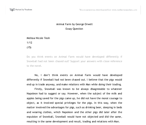essay questions on animal farm Essay questions on animal farm - let specialists deliver their responsibilities: order the needed task here and expect for the best score quick and trustworthy.