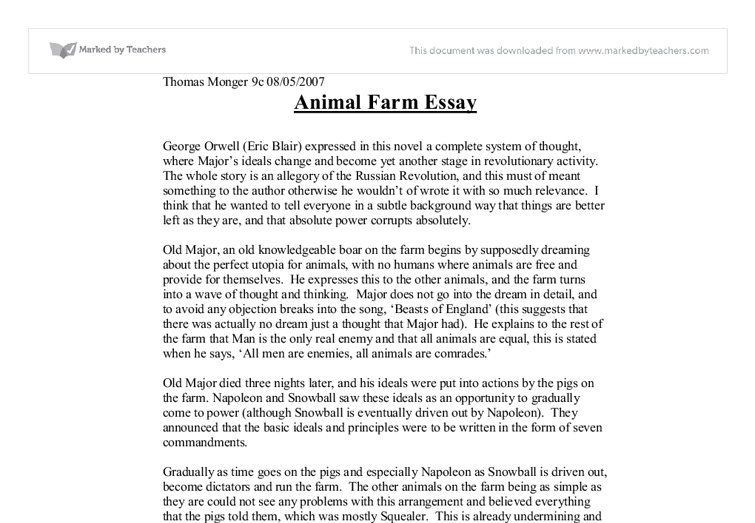 Essay for animal farm