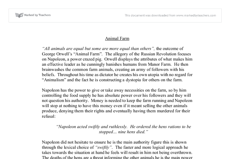 animal farm how is napoleon portryed as an efective leader  document image preview