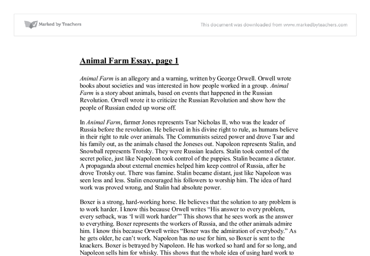 how has george orwell used animal farm to criticise the russian document image preview