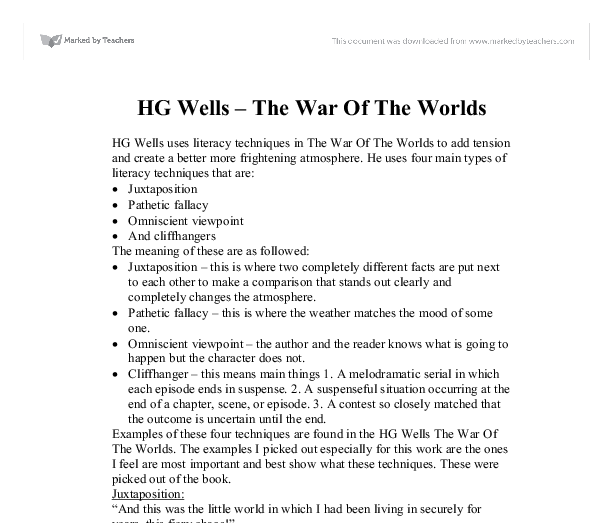 hg wells war of the worlds essays