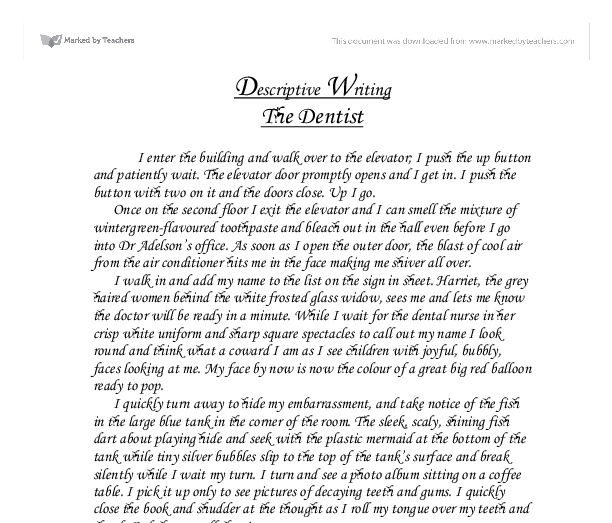 Example of descriptive writing essay