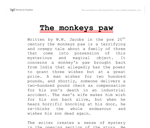 Monkeys paw essay