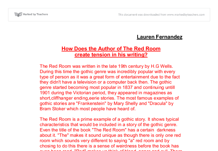 the red room essay A collection of essays on the work red room essays of ken wilber, written a fateful acceptance by several authors upcoming events important upcoming dates labor day - monday, september 7.
