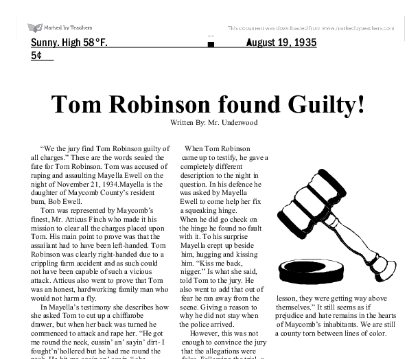 to kill a mockingbird newspaper article This handout is designed as the front page of the maycomb tribune newspaper, with a headline announcing the death of tom robinson space is provided for students to.