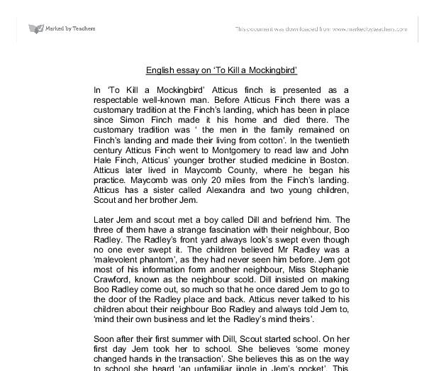 english essay on to kill a mockingbird gcse english marked  document image preview