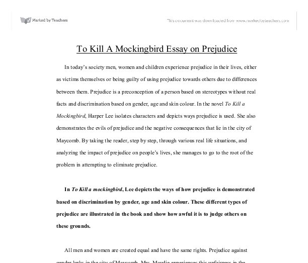 Prejudice Essays Prejudice Essay Examples Co Austen S Pride And  To Kill A Mockingbird Essay On Prejudice Gcse English Marked Document Image  Preview
