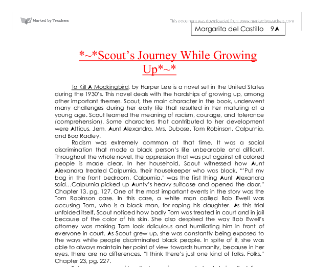 "essay on to kill a mockingbird growing up To kill a mockingbird - literature essay example ""to kill a mockingbird is about growing up, real courage and compassion."