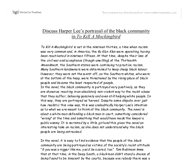 Discuss Harper Lees Portrayal Of The Black Community In To Kill A  Document Image Preview Proposal Essay Topics List also Help W/ Assignments  Help Writing Essay Paper