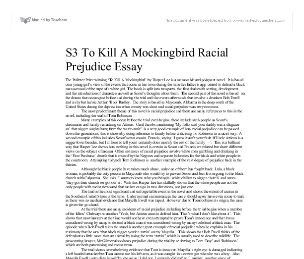 "essays about to kill a mockingbird on racism The black population ""to kill a mockingbird"" by harper lee is set during this  time, in a small town society that is racist and that is suffering financial problems."