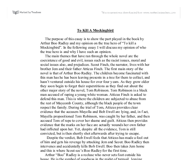 boo radley hero essay In english we have to write an essay on a hero and a leader boo radley mockingbird comparison essay boo radley mockingbird comparison essay benjamin.