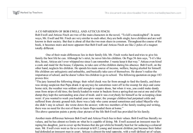 a comparison of bob ewell and atticus finch gcse english  document image preview