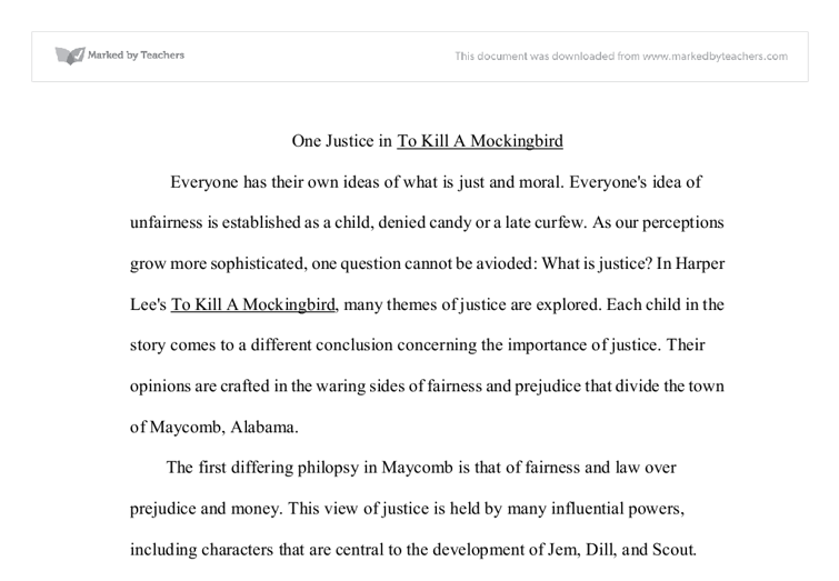 one justice in to kill a mockingbird gcse english marked by  document image preview