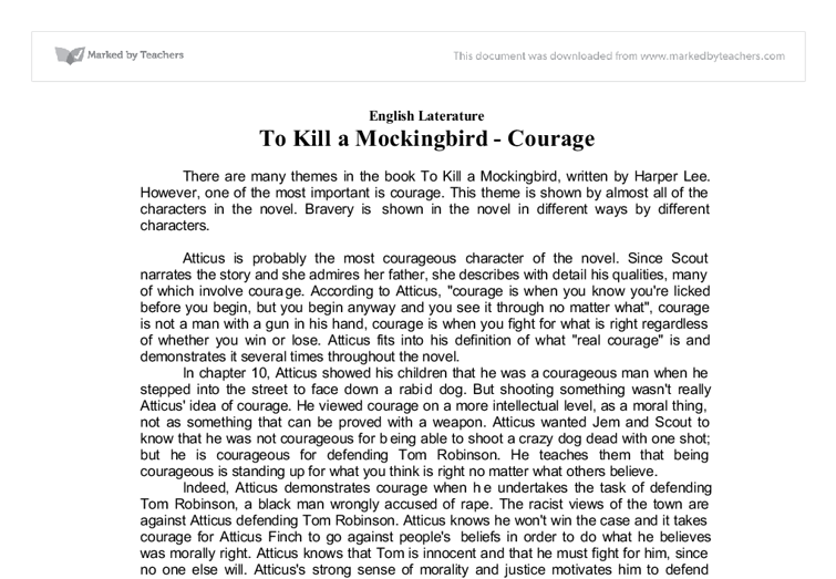 Courage In To Kill A Mockingbird  Gcse English  Marked By Teacherscom Document Image Preview What Is A Thesis Statement In An Essay Examples also Healthy Food Essays  What Is A Thesis Statement In An Essay