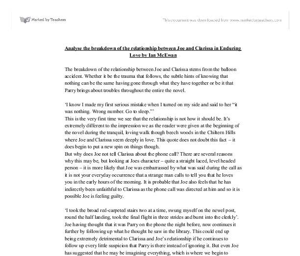 "enduring love coursework Essay question: how is the story told in enduring love in chapter one "" wherever a story comes from, whether it is a familiar myth or a private memory,  the."