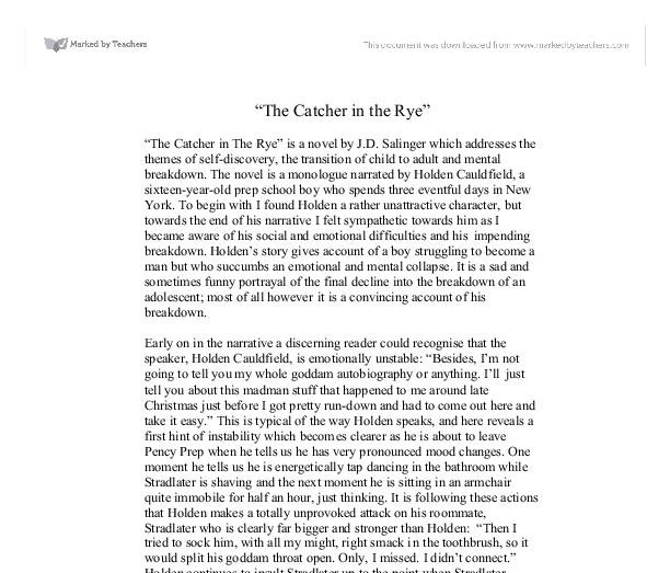 Catcher Rye Literary Analysis Essay