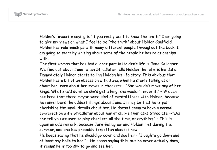 the changes of holden caulfield essay