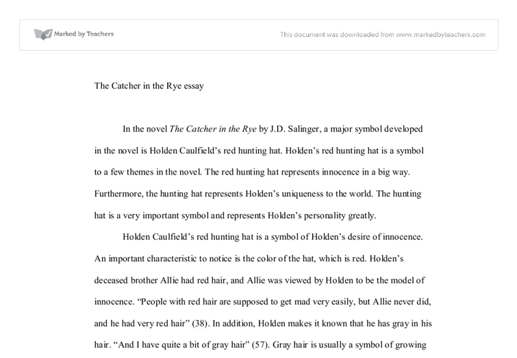 The Catcher In The Rye Holdens Red Hunting Hat Symbol Gcse