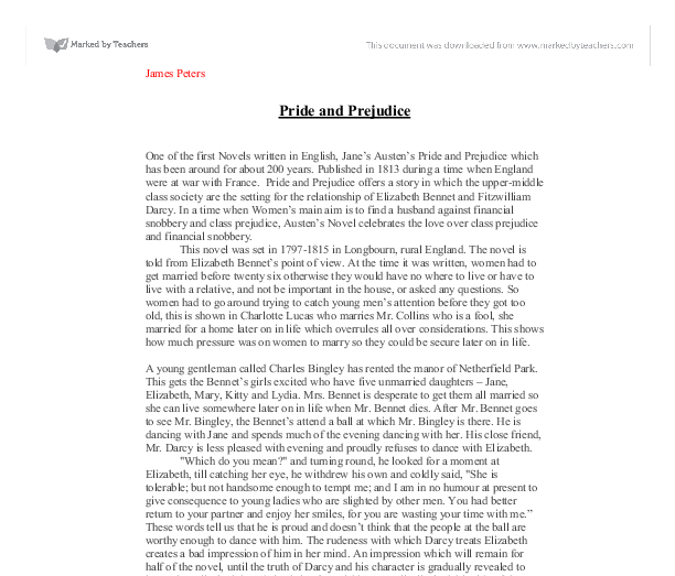 easy pride and prejudice essay topics Pride and prejudice marriage essay topics sparknotes: pride and prejudice: suggested essay topics is a novel about women who feel they have to marry to be happy.