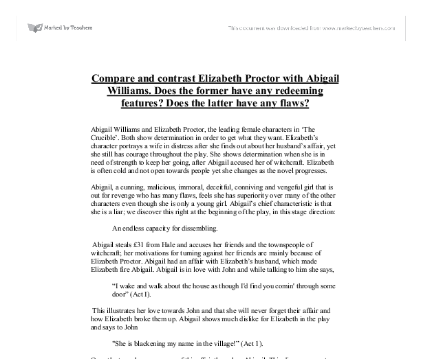 compare and contrast elizabeth proctor abigail williams does  document image preview