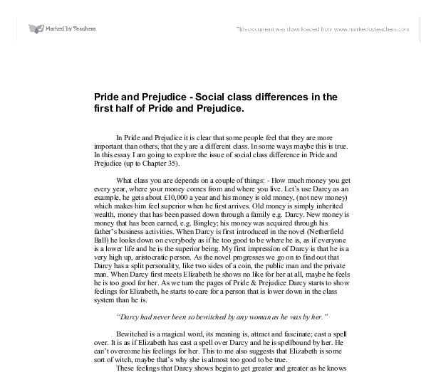 pride and prejudice social class differences in the first half  document image preview
