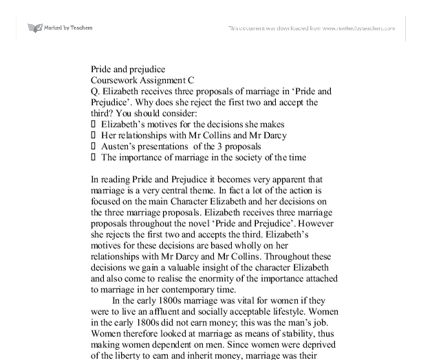 elizabeth receives three proposals of marriage in pride and prejudice essay Comparison of elizabeth bennet's marriage proposals in pride and prejudice essay marriage proposals in pride and prejudice elizabeth receives three.
