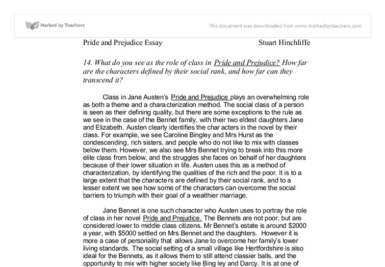 essays on social class in pride and prejudice List of possible questions on pride and prejudice essay, essaybasicscom pride and prejudice jane austen criticizes the nature of the england society in the 18th century in his piece pride and prejudice austin main aim while writing the book was of mobility and the social class.